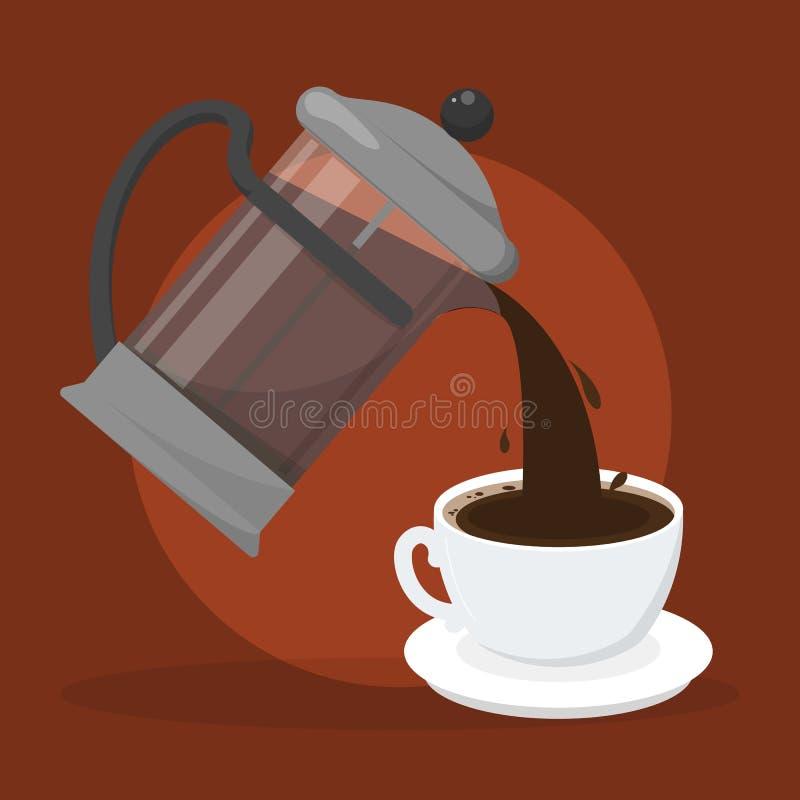 Dolewanie kawa od francuz prasy w białą filiżankę ilustracja wektor