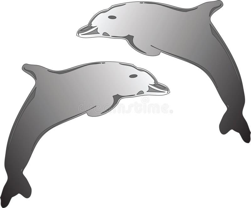Dolfhin Logo. Silver Dolphins royalty free illustration