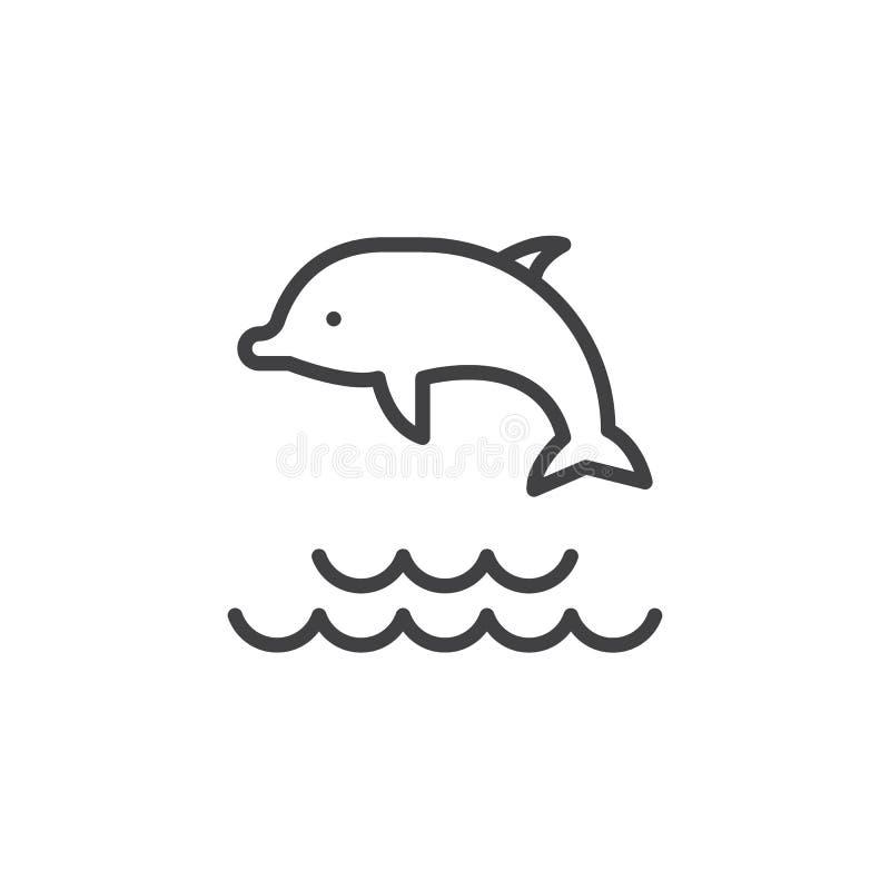 Dolfijn die in het pictogram van het wateroverzicht springen stock illustratie