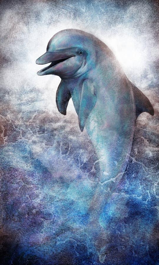 Dolfijn die uit oceaan springen vector illustratie