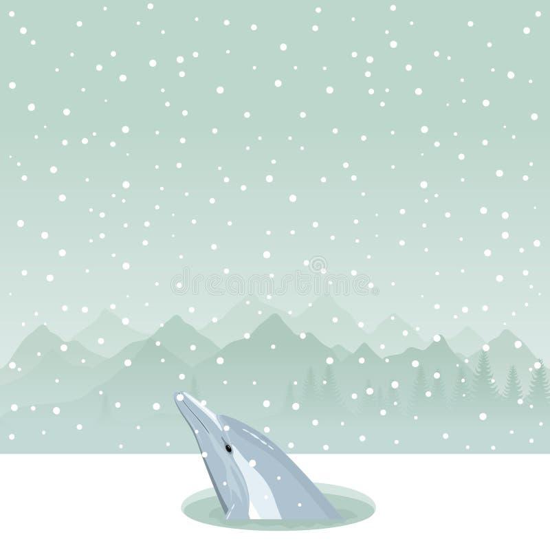 Dolfijn in een ijs-gat royalty-vrije illustratie