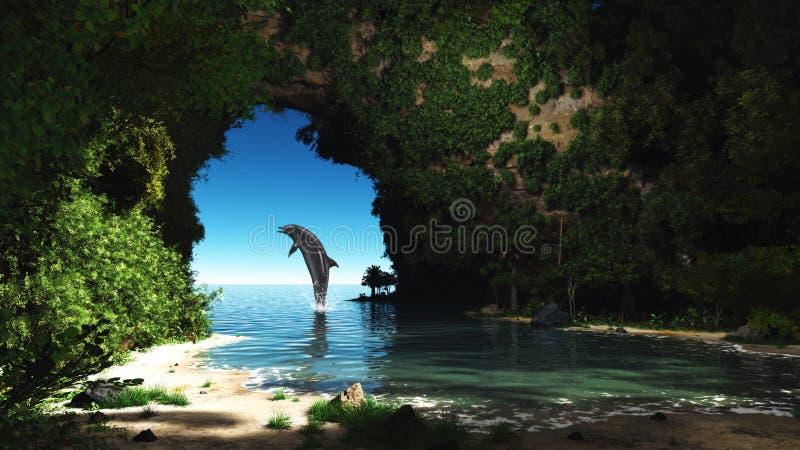 Dolfijn in een verborgen hol stock illustratie