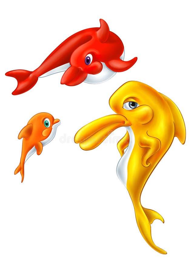 Dolfijn Geïsoleerde Illustratie Dolfijnfamilie royalty-vrije illustratie