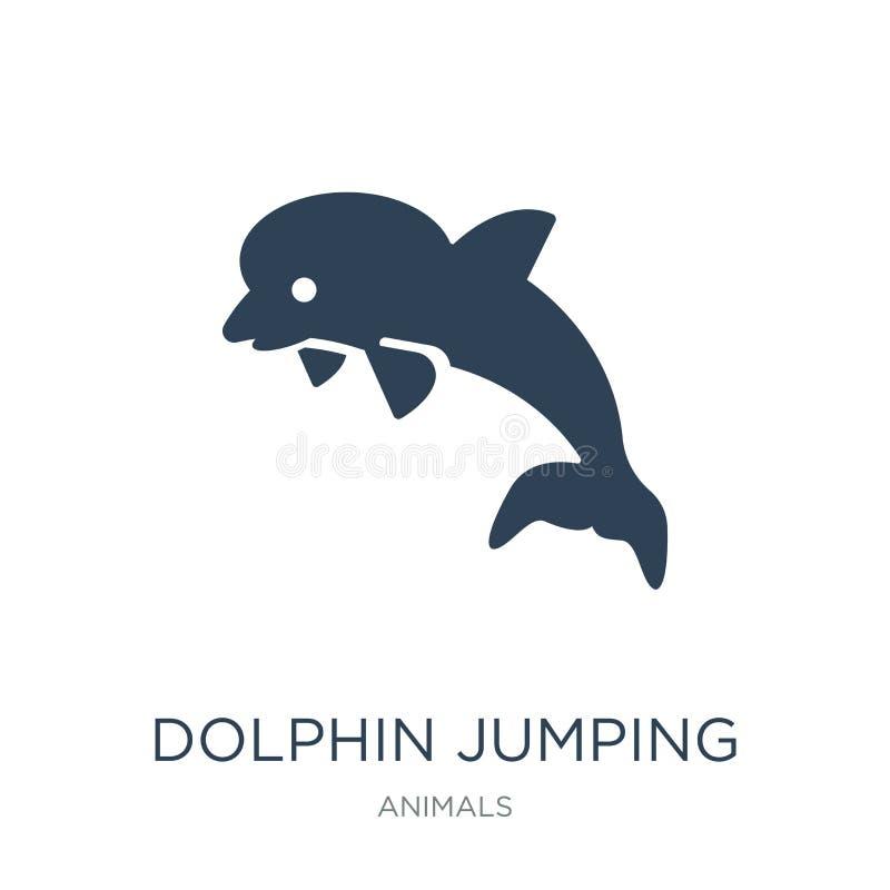 dolfijn het springen pictogram in in ontwerpstijl Dolfijn het Springen pictogram op witte achtergrond wordt geïsoleerd die dolfij royalty-vrije illustratie