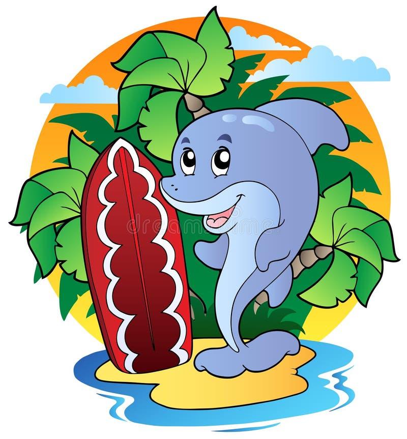 Dolfijn met surfende raad stock illustratie