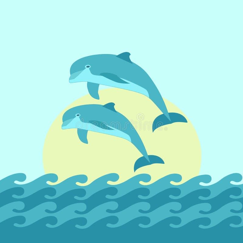 Dolfijn twee die blauwe overzeese achtergrond met golven en Zon springt Vector illustratie Seizoenontwerp stock illustratie