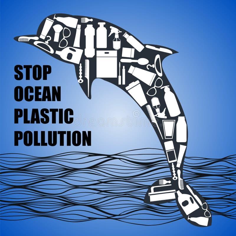 Dolfijn uit witte plastic afvalzak wordt samengesteld, fles op blauwe achtergrond die royalty-vrije illustratie
