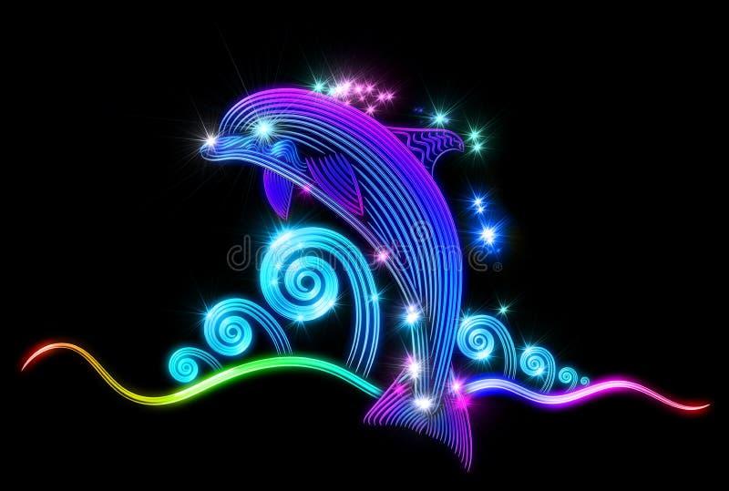 Dolfijn van oceaan en dia's op de golven is gesprongen die vector illustratie
