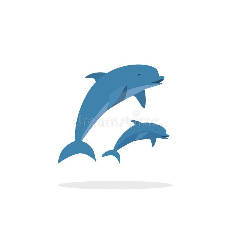 Dolfijn vectorillustratie, vlakke stijl twee het springen gelukkige dolfijnen vector illustratie