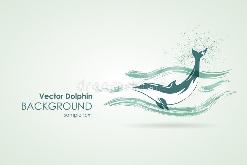 Dolfijn in waterplons vector illustratie