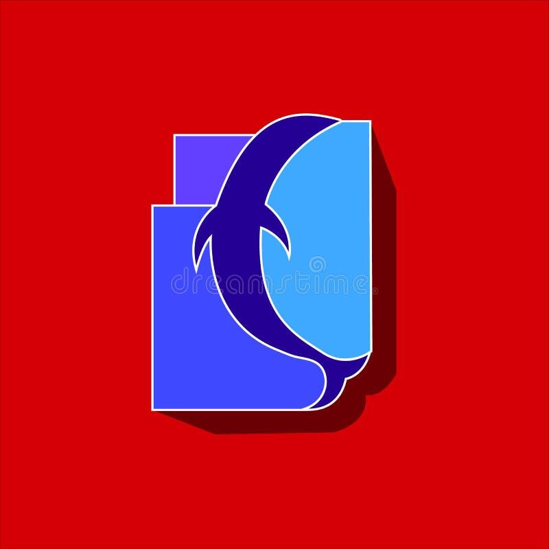 Dolfijnembleem in rechthoeken van verscheidene kleuren op een rode achtergrond wordt ingeschreven die stock illustratie