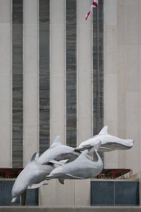 Dolfijnen in Walker Park Florida State Capitol die Tallahassee Van de binnenstad FL bouwen royalty-vrije stock fotografie