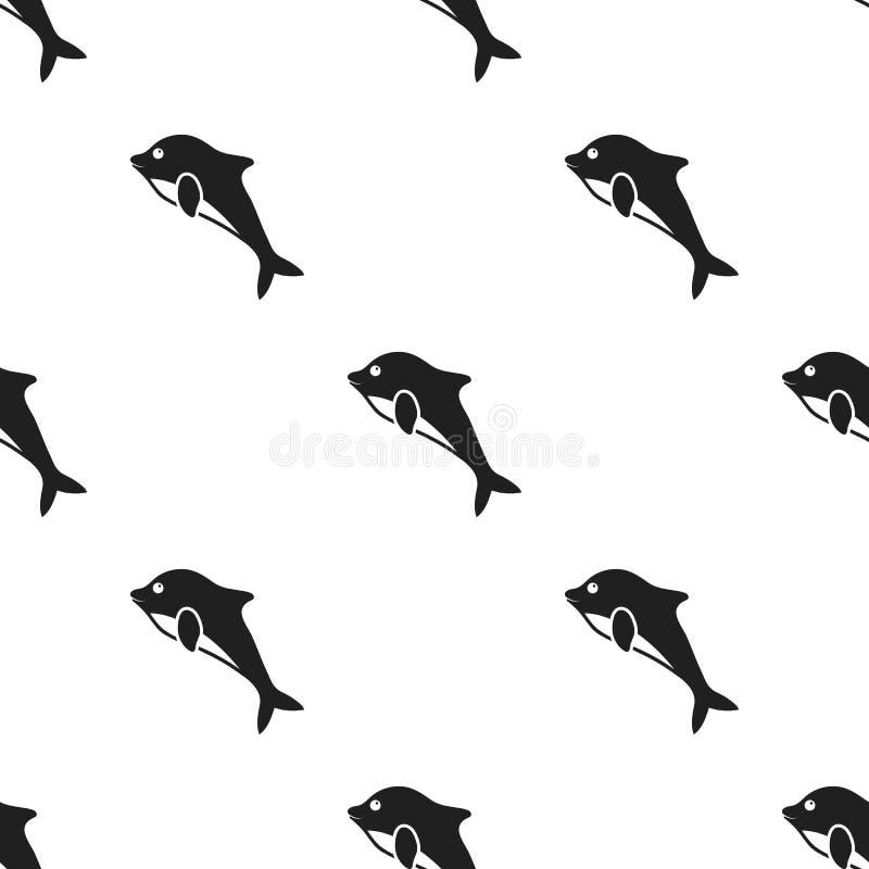 Dolfijnpictogram in zwarte die stijl op witte achtergrond wordt geïsoleerd De voorraad vectorillustratie van het dierenpatroon royalty-vrije illustratie