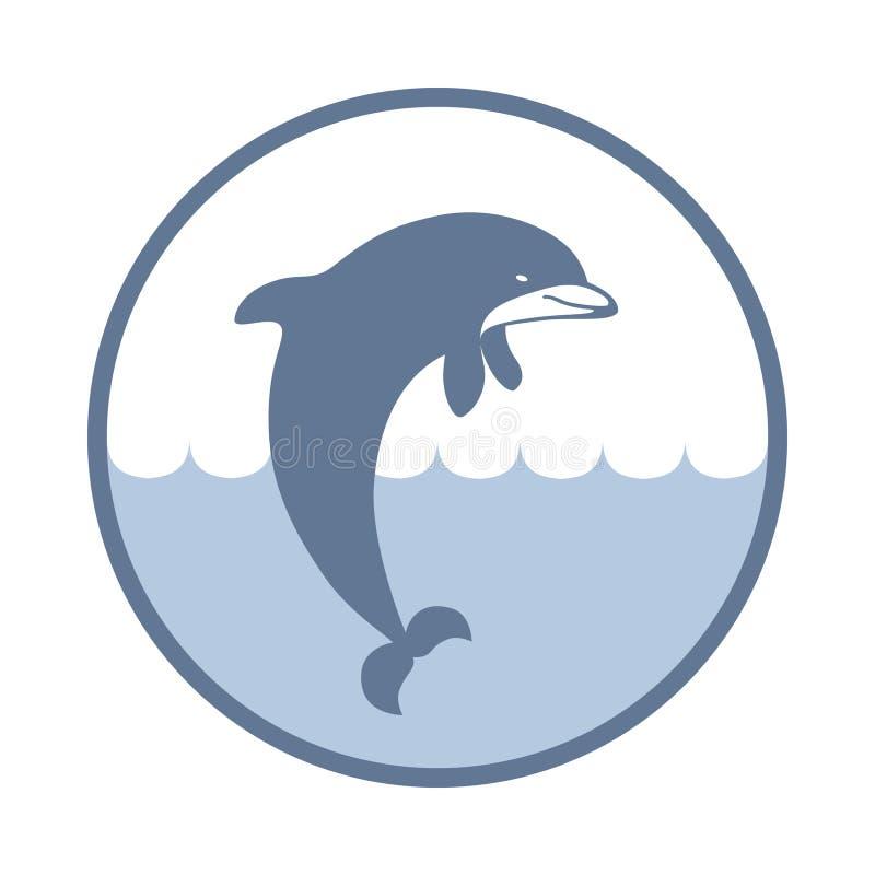 Dolfijnteken in de cirkel vector illustratie