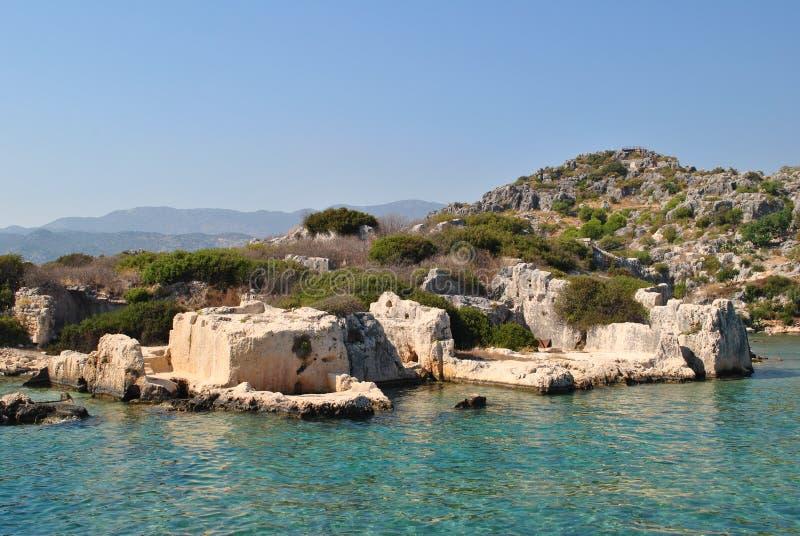 Dolikisthe, ruínas antic do dissipador em Turquia fotografia de stock royalty free