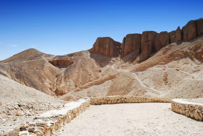 Dolina kr?lewi?tka w pustyni przy Thebes blisko Luxor, Egipt obraz royalty free