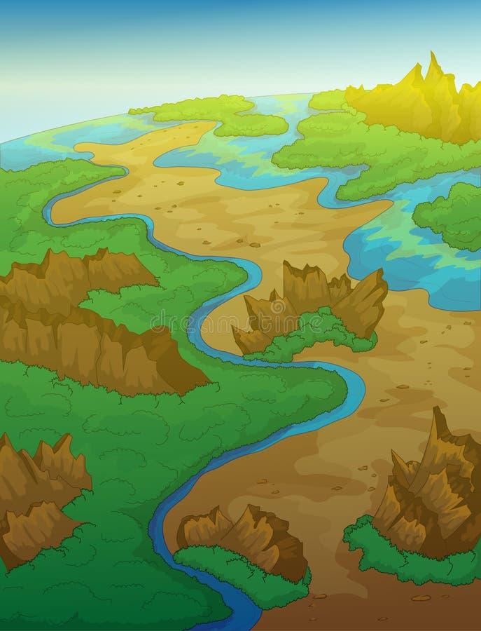Dolina krajobraz z drzewami, górami i słońcem, ilustracji