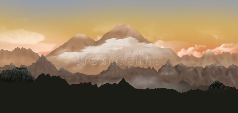 Dolina Volcanoes royalty ilustracja