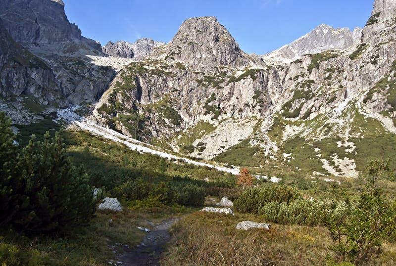 Doliny Zeleneho plesa dolina z halnymi szczytami above w wysokich Tatras górach obrazy stock