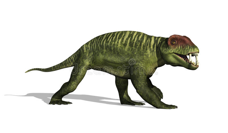 Doliosauriscus Dinosaur. The Doliosauriscus dinosaur lived in Russia during the mid-permian period - 3D render royalty free illustration