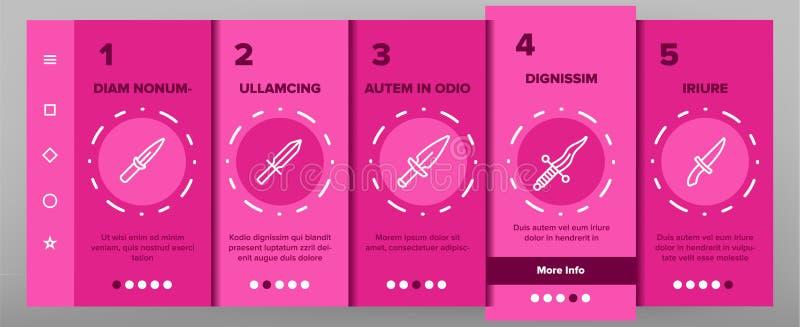 Dolk för Onboarding för skarp vapenvektor skärm för sida mobil App royaltyfri illustrationer