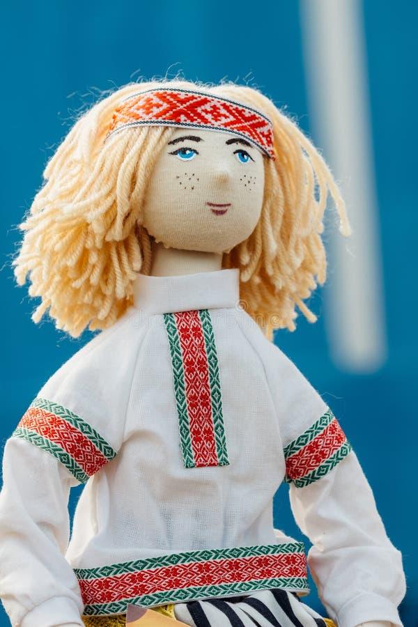 Doll boy. Classic national costume Belarus. Beautiful rag doll boy. Folk, National souvenir from Belarus stock photo