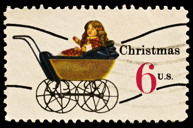 Doll Carriage Christmas Stamp stock images