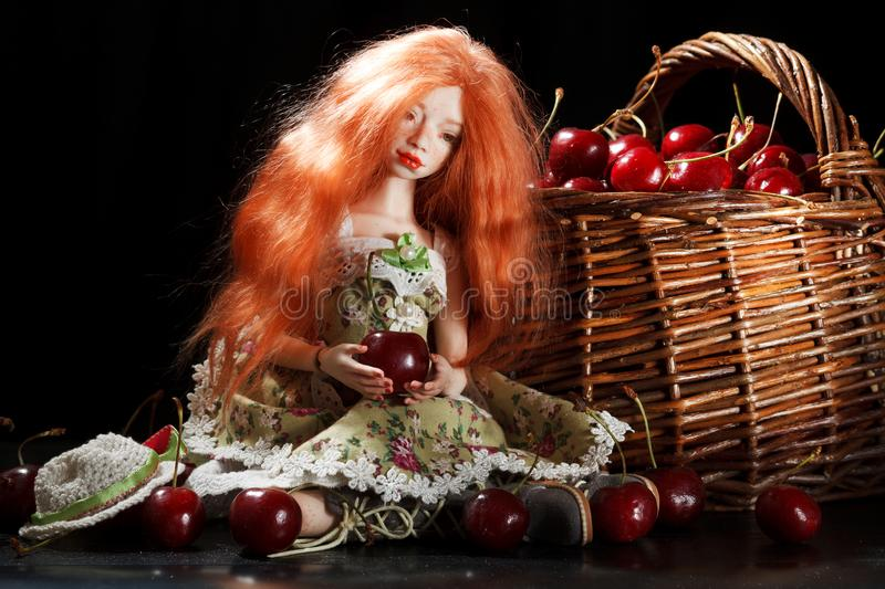Doll and cherry stock images