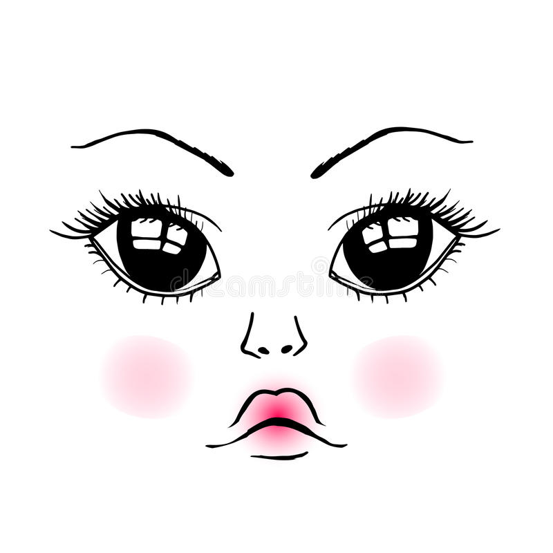 Doll cute face royalty free illustration