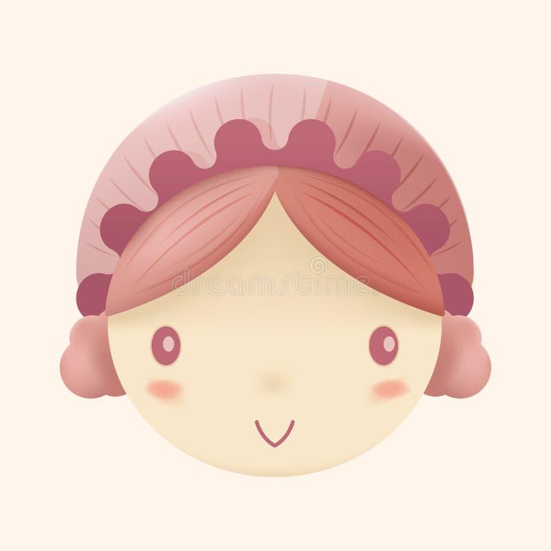 Doll Cute Head Cartoon Design Vector. Doll Cute Head Cartoon Design stock illustration