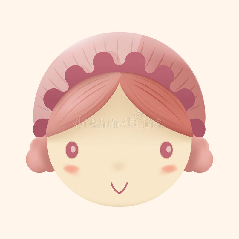 Doll Cute Head Cartoon Design Vector stock illustration