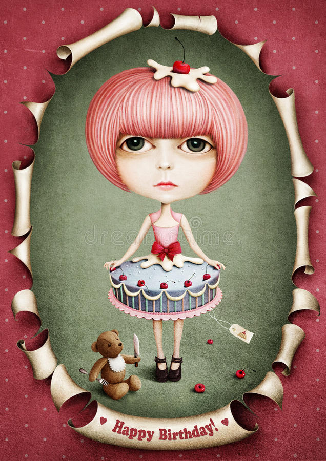 Doll de cake en de lunch dragen. vector illustratie