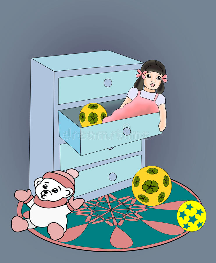 Doll in a Drawer. A commode with a doll lying in a drawer and a teddy bear sitting next to stock illustration