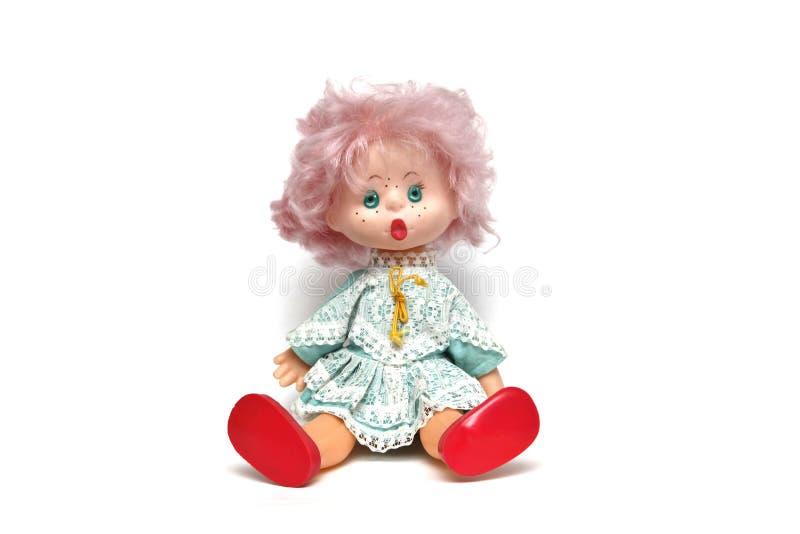 Doll is een zacht kinderjarenstuk speelgoed stock afbeeldingen