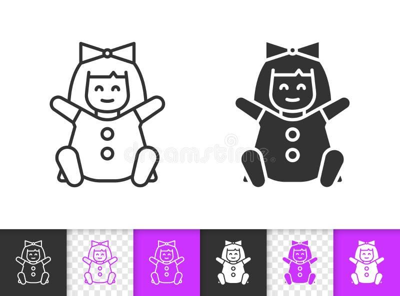 Doll eenvoudig zwart het stuk speelgoed van lijn vectorjonge geitjes pictogram vector illustratie