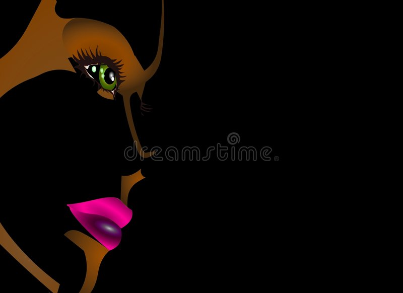 DOLL FACE BACKGROUND on BLACK royalty free stock photos