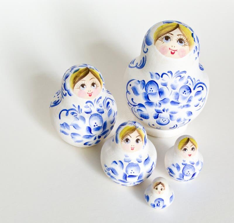 doll family isolated matryoshka russian arkivfoton