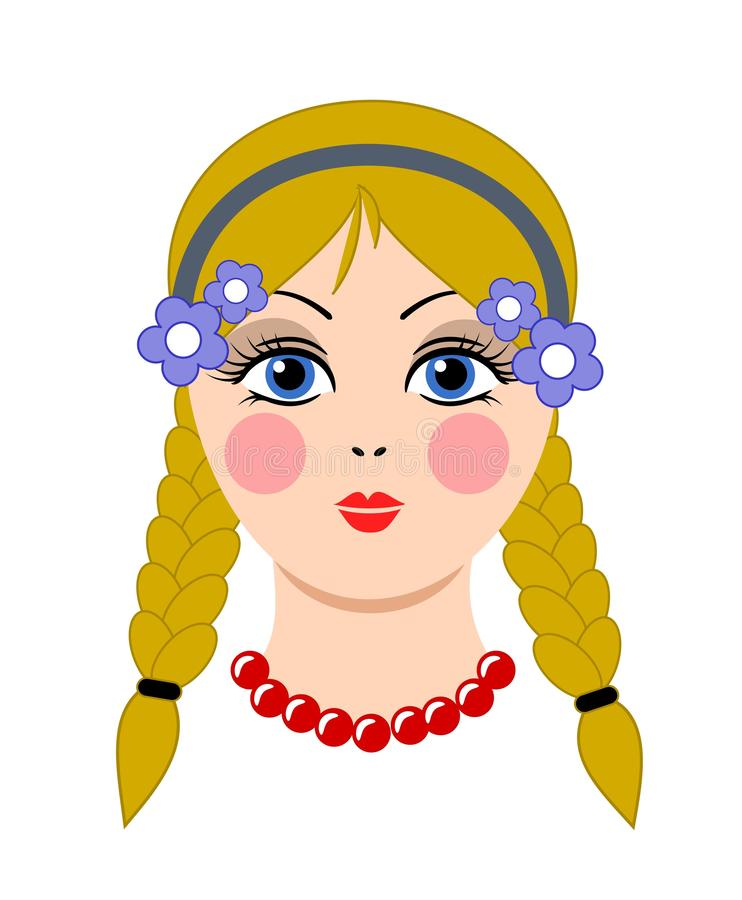 Doll, girl, woman cute face template vector. Art royalty free illustration