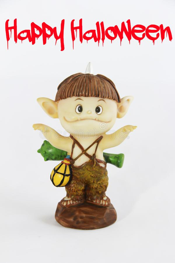 Doll gnome zombie monster figure for halloween holiday. Doll gnome zombie monster figure for halloween a holiday royalty free stock photos