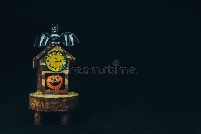 Doll head orange pumpkin`s and bat are happy holidays Halloween. Doll head orange pumpkin`s and bat are happy holidays Halloween royalty free stock photos