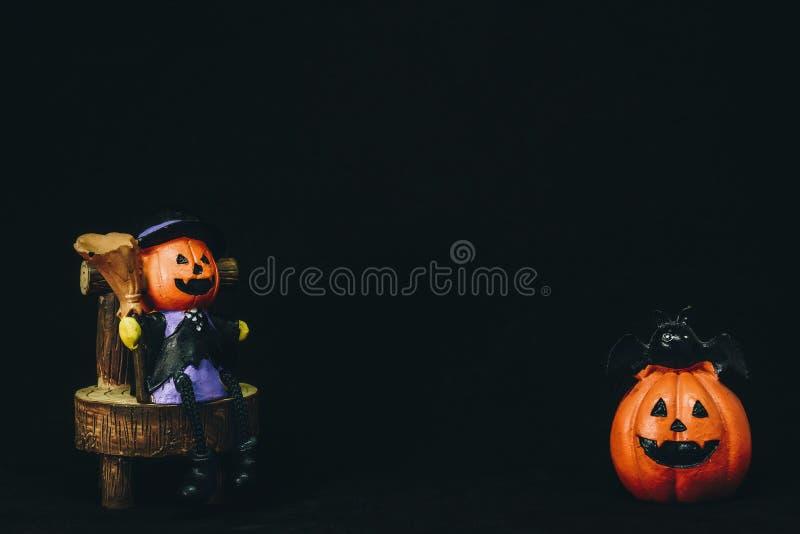 Doll head orange pumpkin`s happy holidays Halloween. Doll head orange pumpkin`s happy holidays Halloween royalty free stock photography