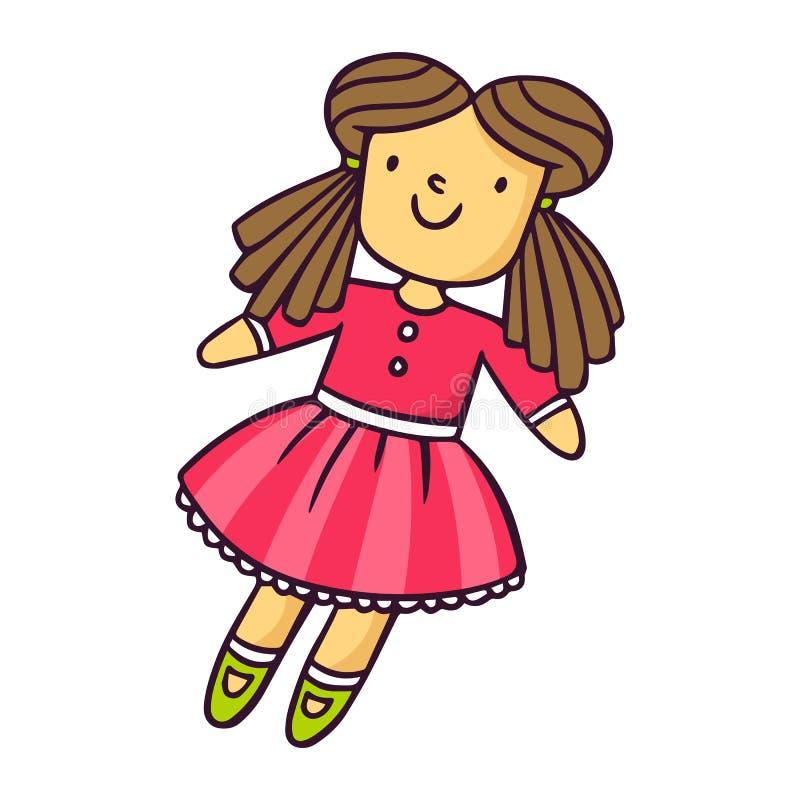 Doll, heldere vectordiekinderenillustratie op wit wordt geïsoleerd stock foto's