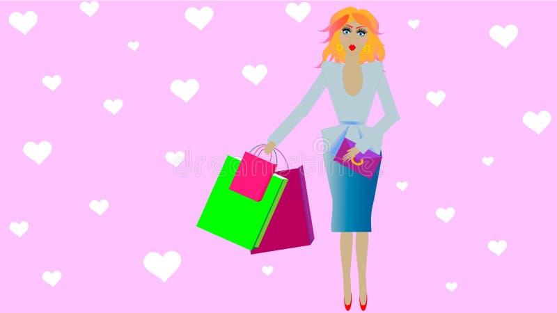 Doll het beeld van meisje met het winkelen verpakt het winkelen achtergrond stock illustratie