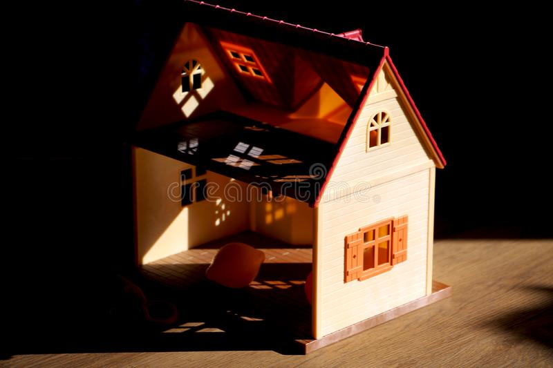 Doll house, the concept of selling real estate stock photography