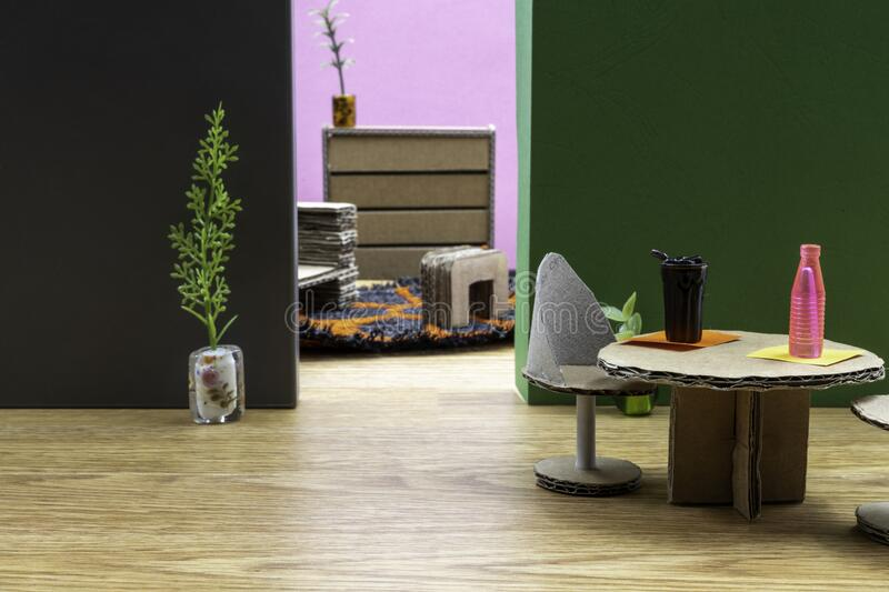 Doll house interior with cardboard furniture. royalty free stock image