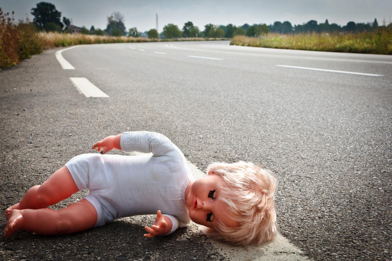 Download Doll Leave On A Highway Lane Stock Image - Image of accident, crash: 16593243