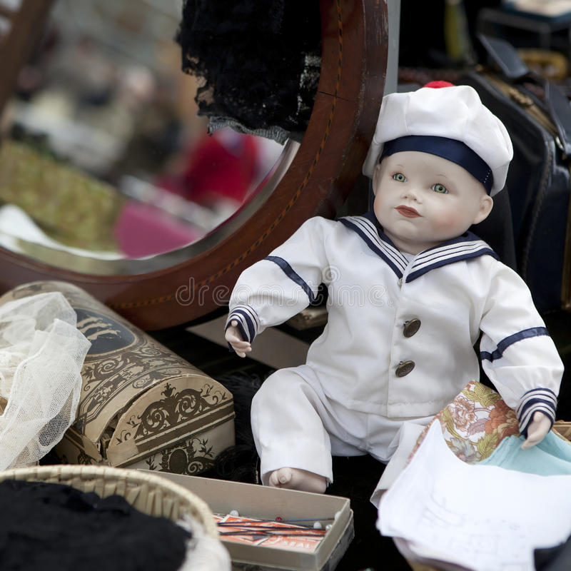 Doll at london flea market royalty free stock photo