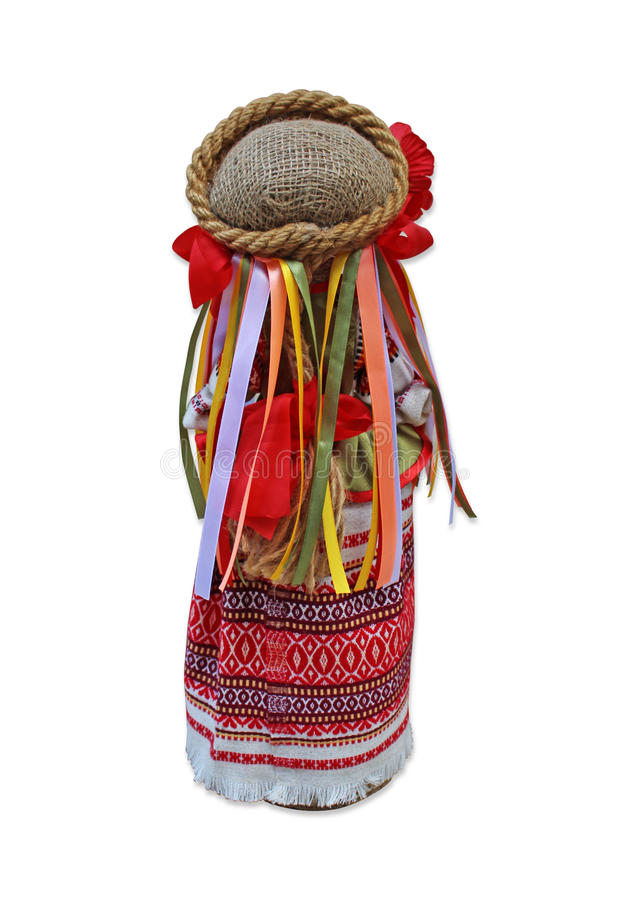 Doll in national Ukrainian costume back view royalty free stock photos
