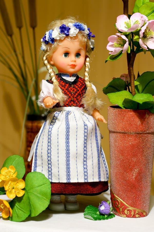 Doll in Pruisisch volkskostuum royalty-vrije stock afbeelding