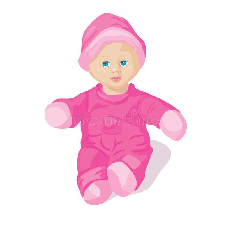 Doll in roze kleren vector illustratie